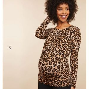 Slim Fit Leopard Print Maternity Top